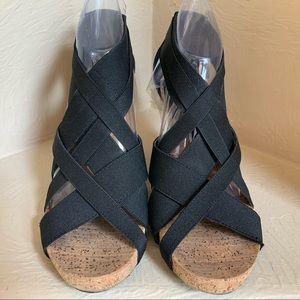 BCBGeneration Black Cork Wedge Strappy Sandals